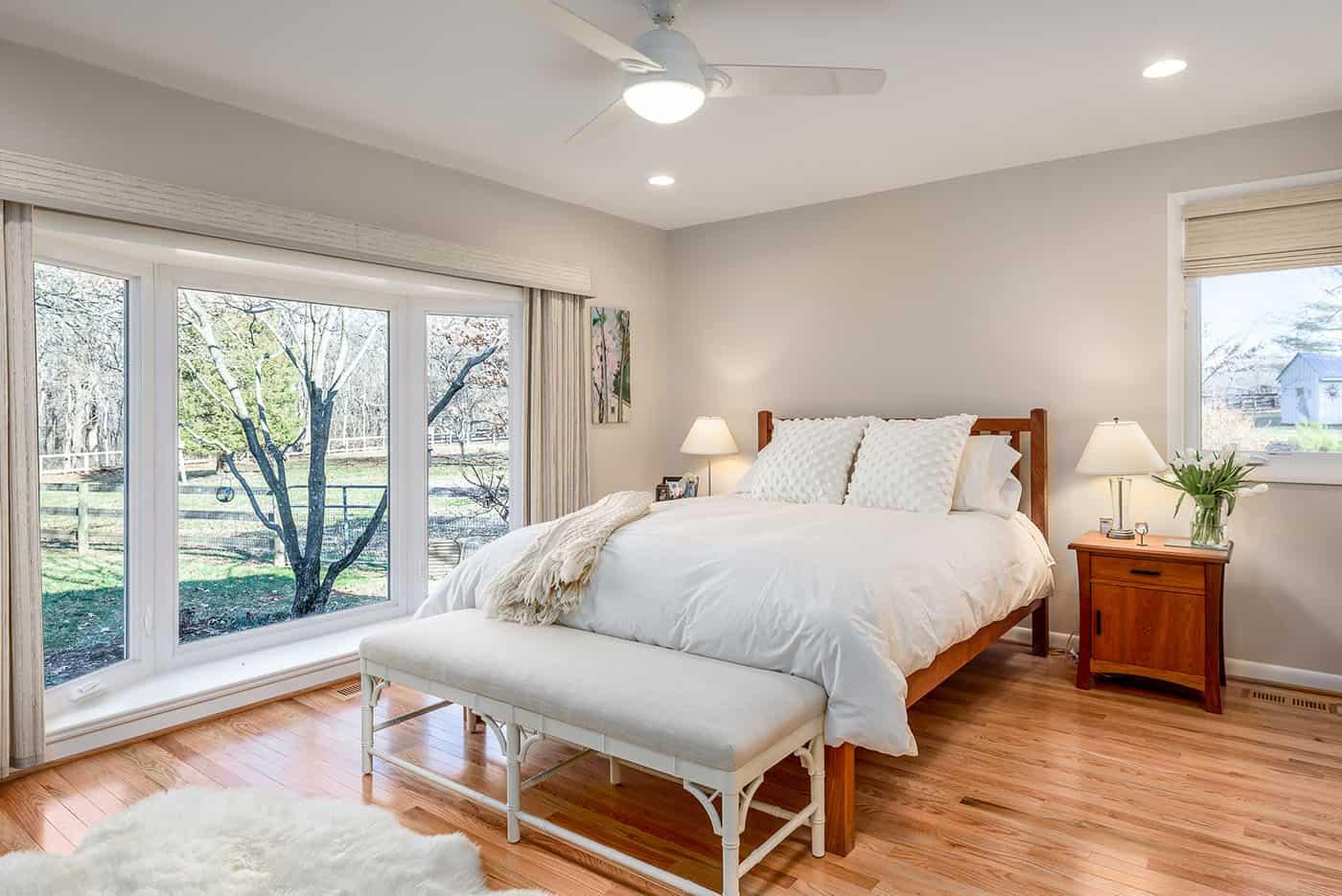 Bay window in master bedroom after renovation